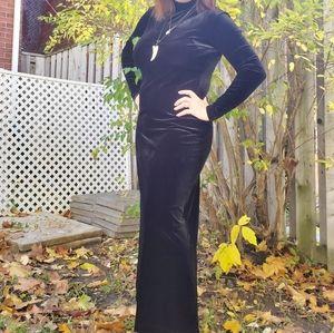 Vintage 80s Black velvet turtleneck dress